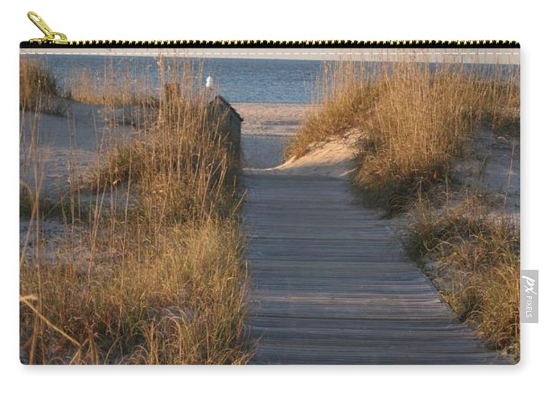 Boardwalk Carry-all Pouch featuring the photograph Boardwalk To The Beach by Nadine Rippelmeyer