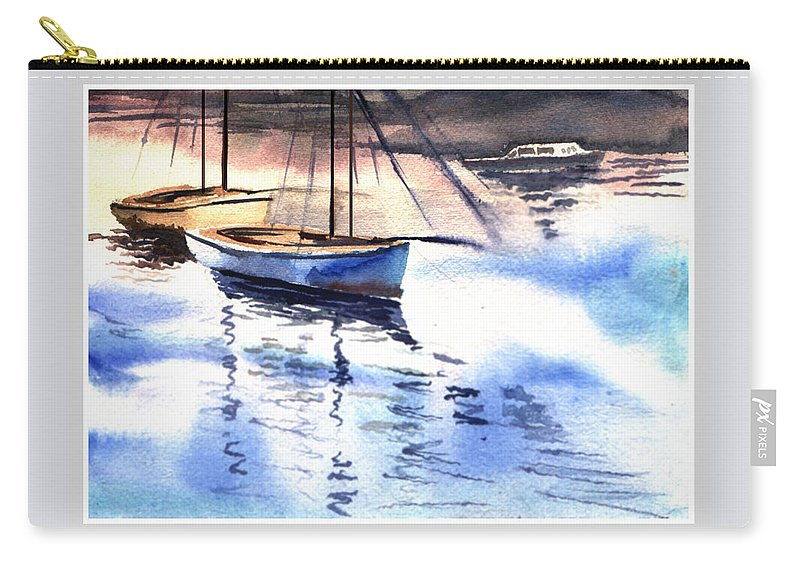 Watercolor Carry-all Pouch featuring the painting Boat And The River by Anil Nene