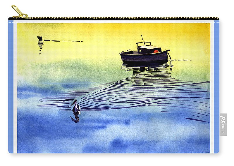 Watercolor Carry-all Pouch featuring the painting Boat And The Seagull by Anil Nene