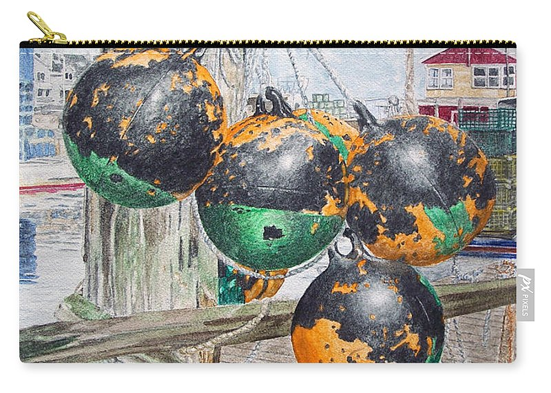 Boat Bumpers Carry-all Pouch featuring the painting Boat Bumpers by Dominic White