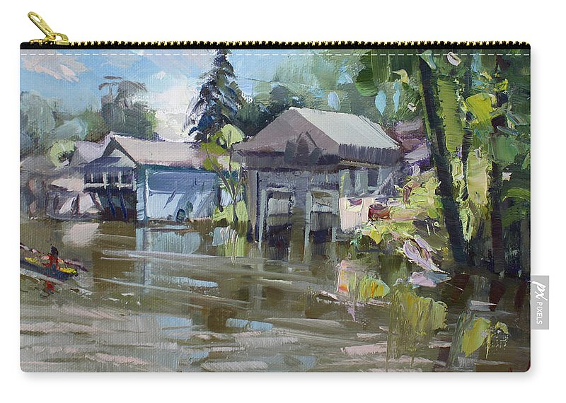 Boat Houses Carry-all Pouch featuring the painting Boat Houses by Ylli Haruni