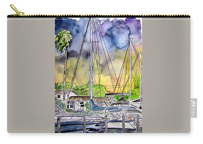 Marina Carry-all Pouch featuring the painting Boat Marina by Derek Mccrea