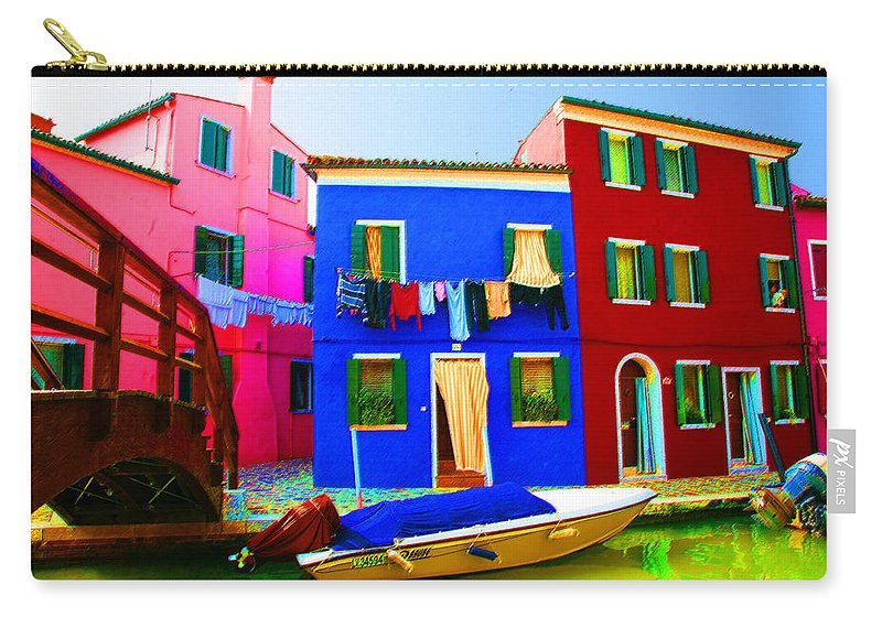 Burano Carry-all Pouch featuring the pastel Boat Matching House by Donna Corless