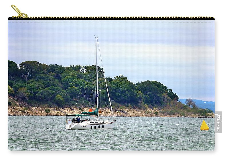 Landscape Carry-all Pouch featuring the photograph Boat On A Lake by Jeff Downs