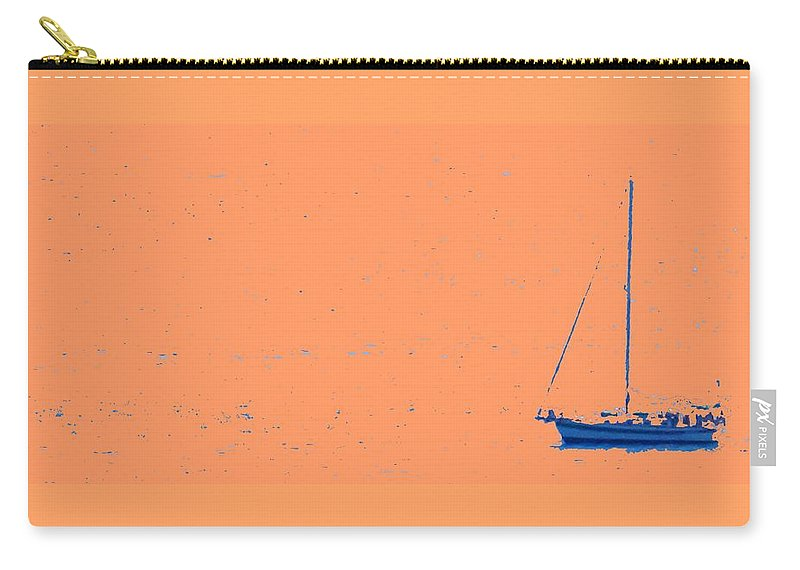 Boat Carry-all Pouch featuring the photograph Boat On An Orange Sea by Ian MacDonald