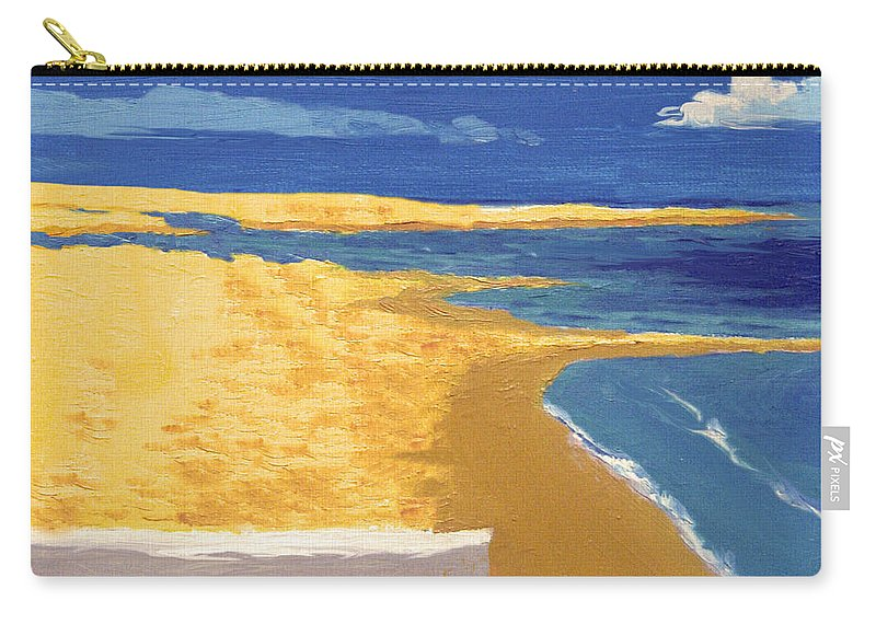 Boat Carry-all Pouch featuring the painting Boat On The Sand Beach by Alban Dizdari