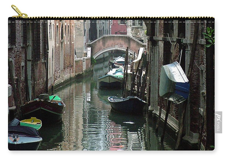 Venice Carry-all Pouch featuring the photograph Boat On The Wall by Donna Corless