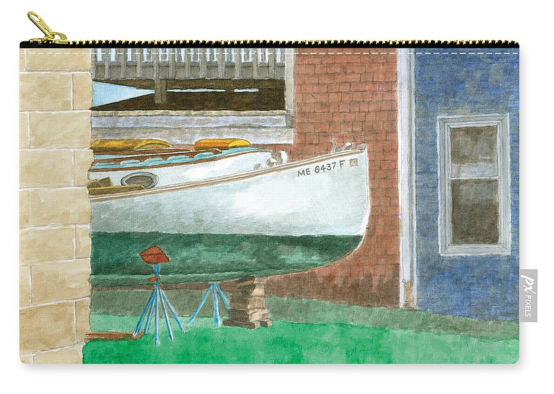 Boat Carry-all Pouch featuring the painting Boat Out Of Water - Portland Maine by Dominic White