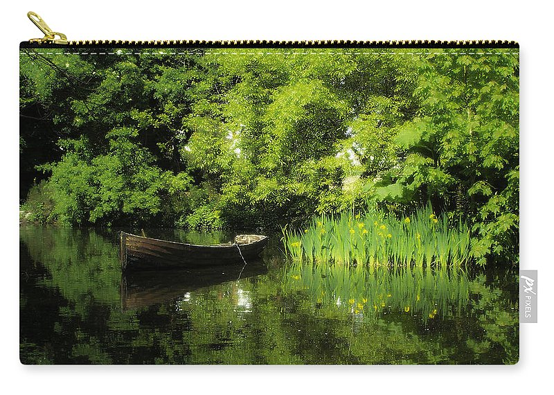 Irish Carry-all Pouch featuring the digital art Boat Reflected On Water County Clare Ireland Painting by Teresa Mucha