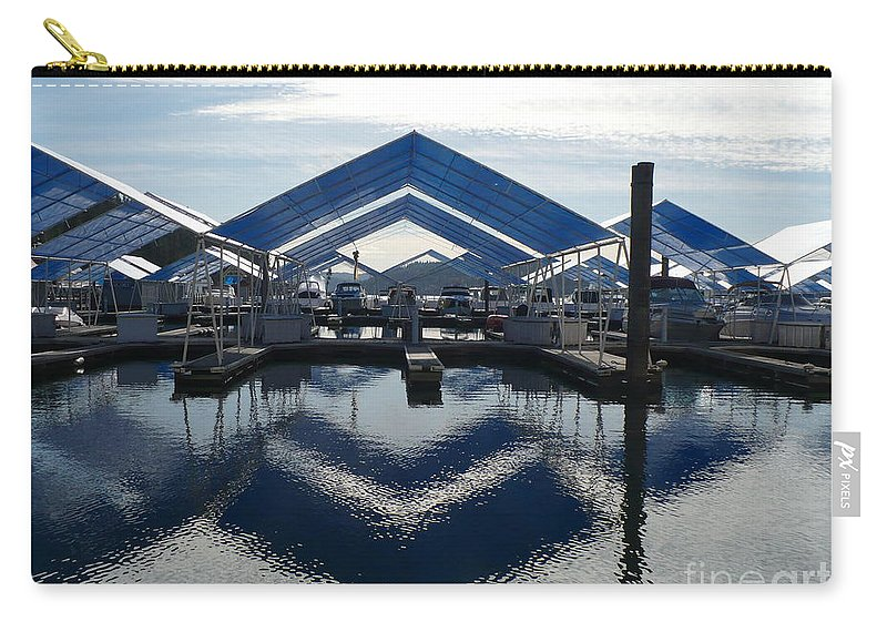 Boats Carry-all Pouch featuring the photograph Boat Reflection On Lake Coeur D'alene by Carol Groenen