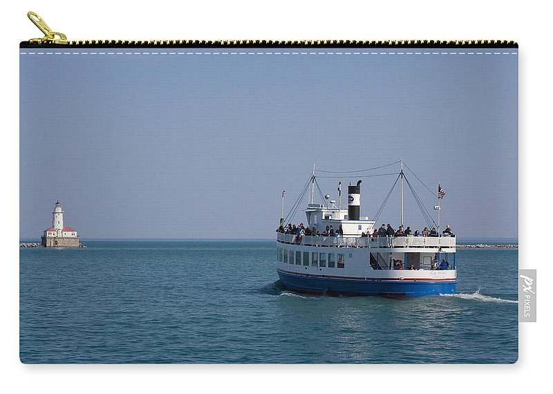 Boat Ride Chicago Windy City Tourist Tourism Travel Water Lake Michigan Attraction Blue Sky Carry-all Pouch featuring the photograph Boat Ride by Andrei Shliakhau