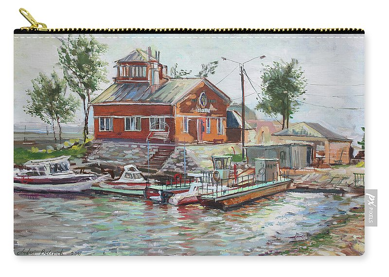 Boats Carry-all Pouch featuring the painting Boat Station On Krestovsky Island In St.-petersburg by Andrei Belevich