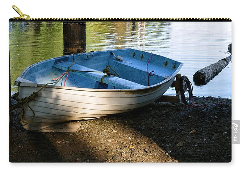 Boat Carry-all Pouch featuring the photograph Boat Under The Bridge by Caroline Reyes-Loughrey