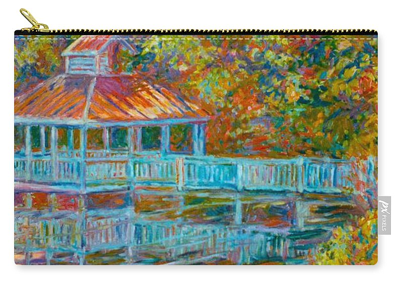 Mountain Lake Carry-all Pouch featuring the painting Boathouse At Mountain Lake by Kendall Kessler