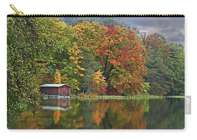 Boathouse Carry-all Pouch featuring the painting Boathouse by Harry Warrick