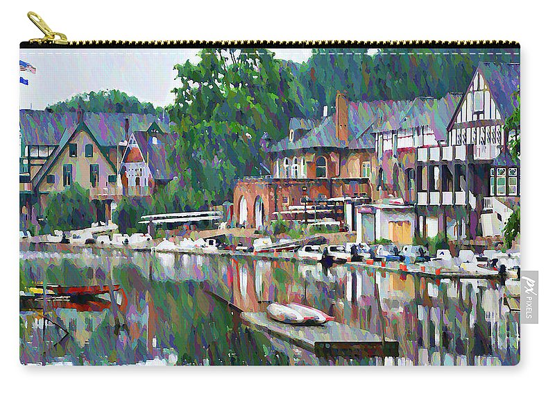 Boathouse Carry-all Pouch featuring the photograph Boathouse Row In Philadelphia by Bill Cannon