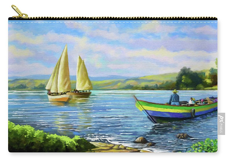 Lake Victoria Carry-all Pouch featuring the painting Boats At Lake Victoria by Anthony Mwangi
