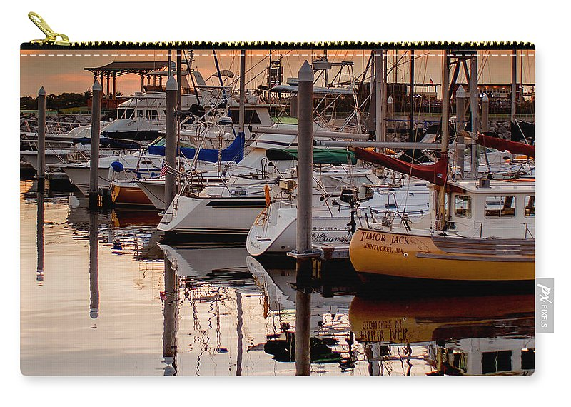 Boats At Sunset Carry-all Pouch featuring the photograph Boats At Sunset by Mechala Matthews
