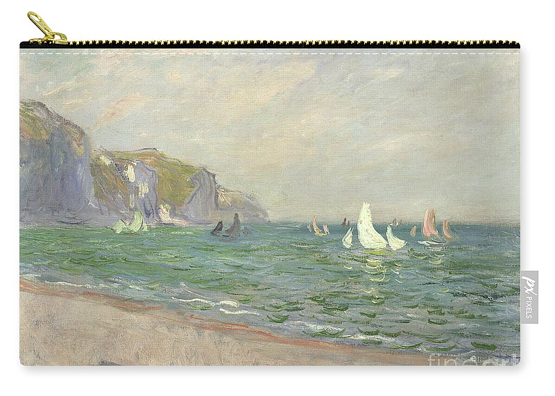 Boats Carry-all Pouch featuring the painting Boats Below The Cliffs At Pourville by Claude Monet