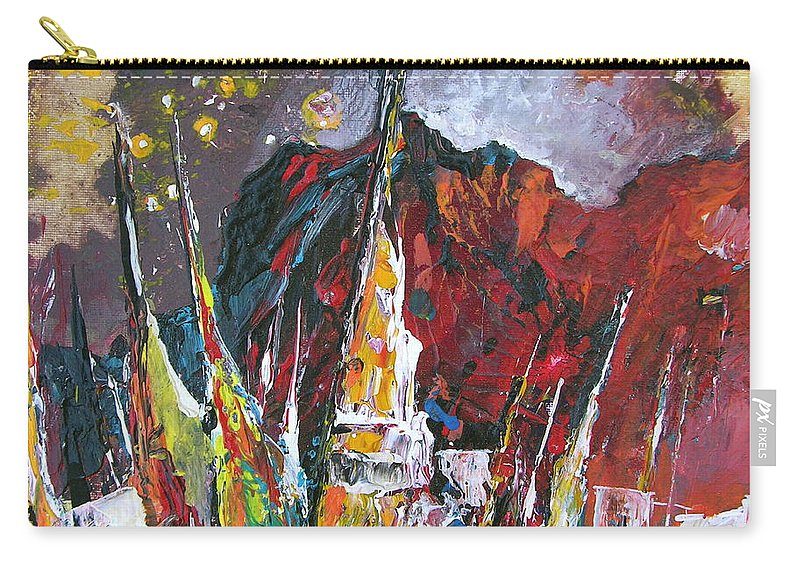 Boats Painting Seacape Spain Acrylics Calpe Costa Blanca Carry-all Pouch featuring the painting Boats In Calpe 01 Spain by Miki De Goodaboom
