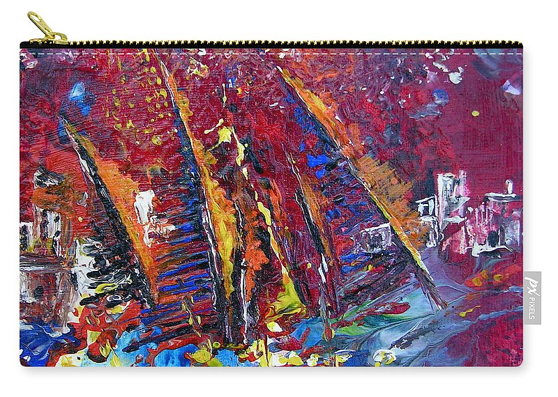 Boats Painting Seacape Spain Acrylics Calpe Costa Blanca Carry-all Pouch featuring the painting Boats In Calpe 02 Spain by Miki De Goodaboom