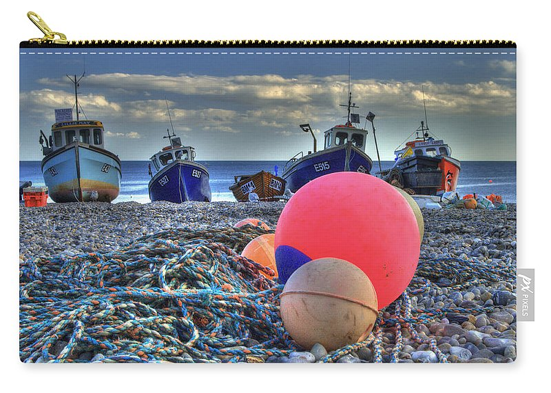 Boats Carry-all Pouch featuring the photograph Boats On The Beach At Beer by Rob Hawkins