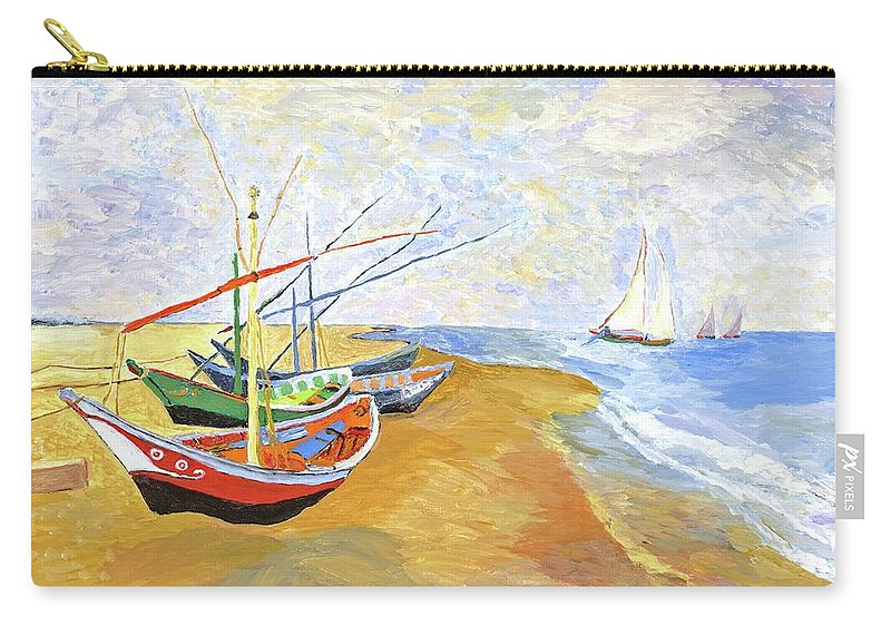 van Gogh Carry-all Pouch featuring the painting Boats On The Beach At Saintes-maries After Van Gogh by Rodney Campbell