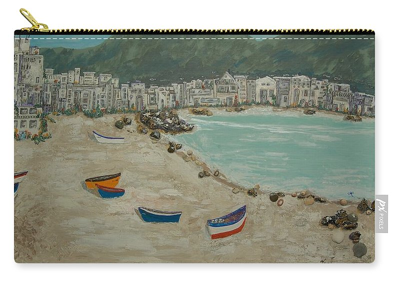 Spain Carry-all Pouch featuring the painting Boats On The Beach In Spain by Kenlynn Schroeder