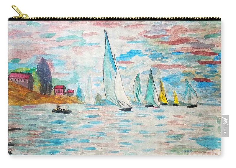 Oscar Carry-all Pouch featuring the painting Boats On Water Monet by Scott D Van Osdol