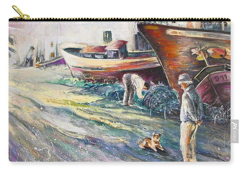 Boats Painting Seacape Spain Acrylics Villajoyosa Costa Blanca Carry-all Pouch featuring the painting Boats Yard In Villajoyosa Spain by Miki De Goodaboom