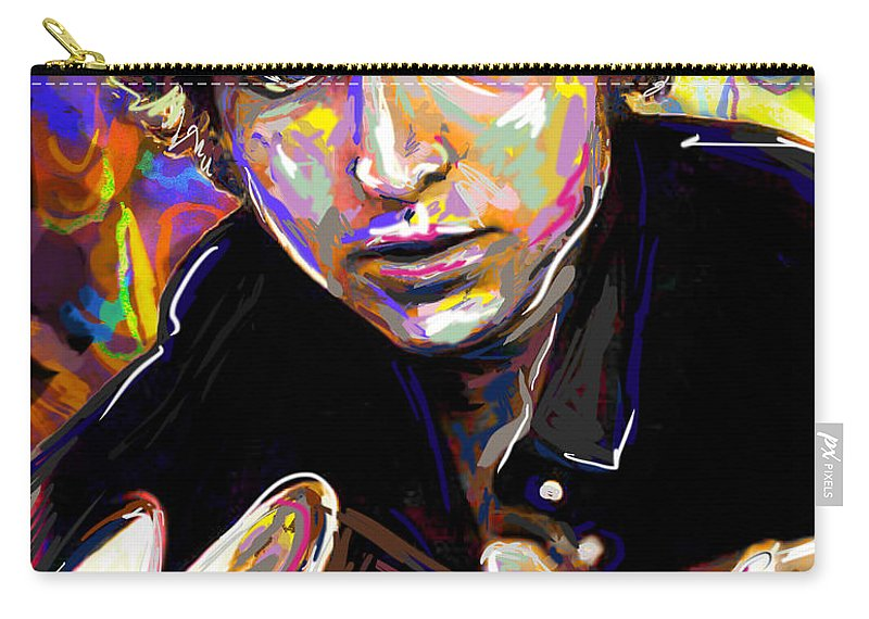 Bob Dylan Carry-all Pouch featuring the mixed media Bob Dylan Art by Ryan Rock Artist