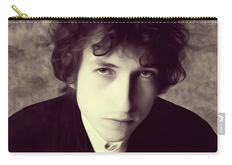 Bob Carry-all Pouch featuring the digital art Bob Dylan, Music Legend by Esoterica Art Agency