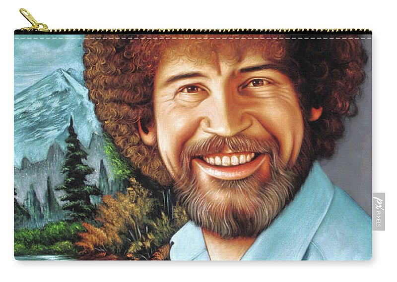 Velvet Painting Carry-all Pouch featuring the painting Bob Ross by Zenon Matias Jimenez