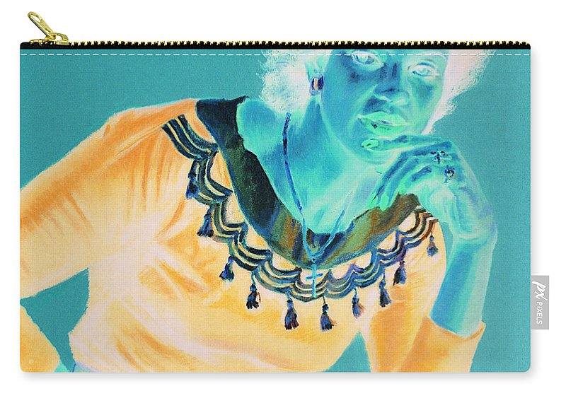 Portrait Carry-all Pouch featuring the painting Bobbi by Jean Hildebrant