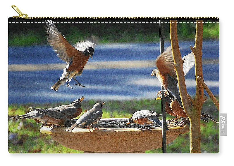 Robins Carry-all Pouch featuring the digital art Bobbin Robins by DigiArt Diaries by Vicky B Fuller