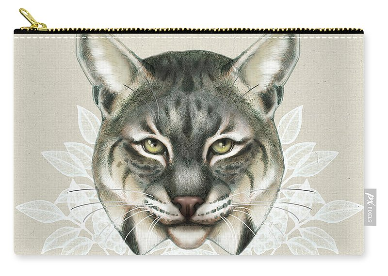Bobcat Carry-all Pouch featuring the mixed media Bobcat by Catherine Noel
