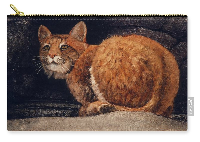 Wildlife Carry-all Pouch featuring the painting Bobcat On Ledge by Frank Wilson