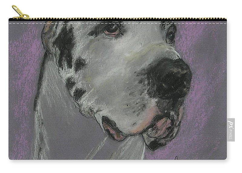 Great Dane Carry-all Pouch featuring the drawing Bodhi's Mystique by Cori Solomon