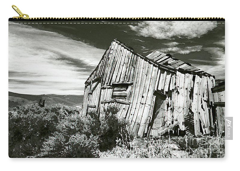 Western Scenes Carry-all Pouch featuring the photograph Bodie Barn by Norman Andrus