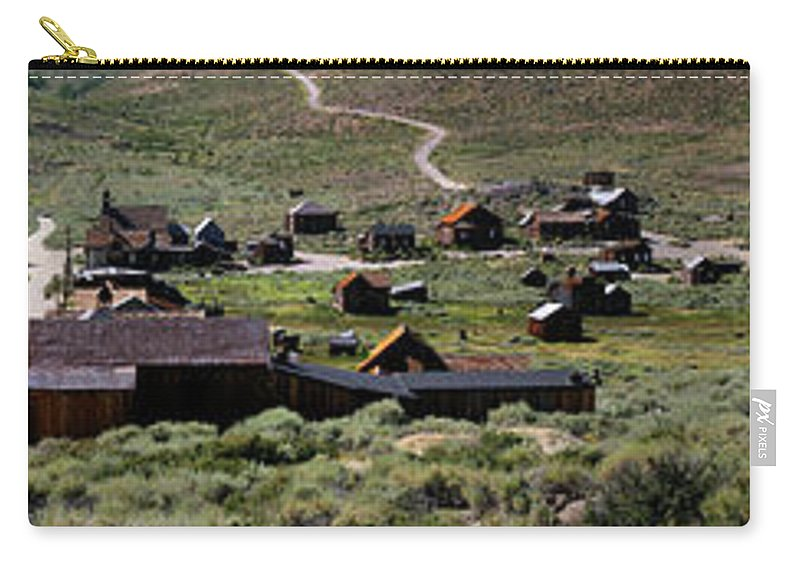 Bodie Ghost Town Panorama Carry-all Pouch featuring the photograph Bodie Ghost Town Panorama by Chris Brannen