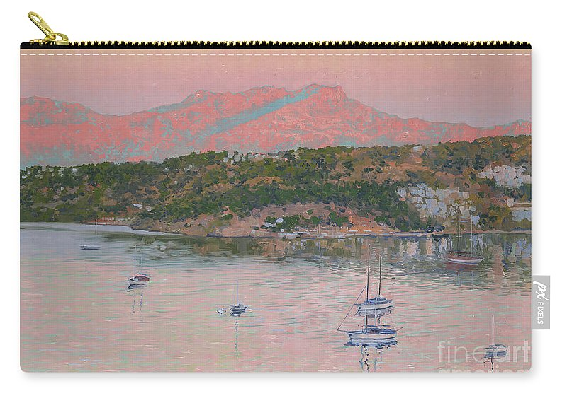 Bodrum Carry-all Pouch featuring the painting Bodrum.pink Sunrise by Simon Kozhin
