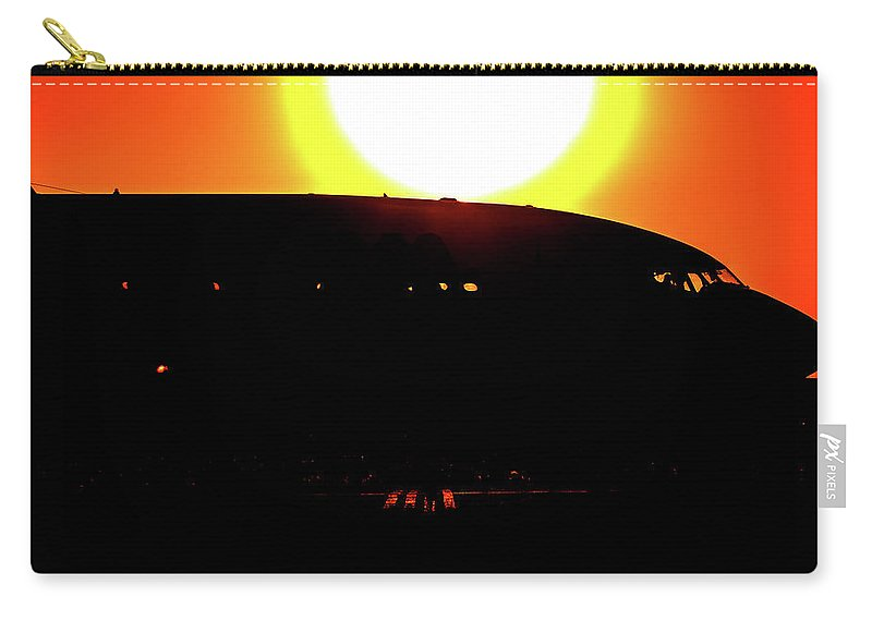 Boeing 737 Silhouette B737 Sunset Dusk Bolivia Santa Cruz Airliner Airplane Carry-all Pouch featuring the photograph Boeing 737 At Sunset by Andres Meneses