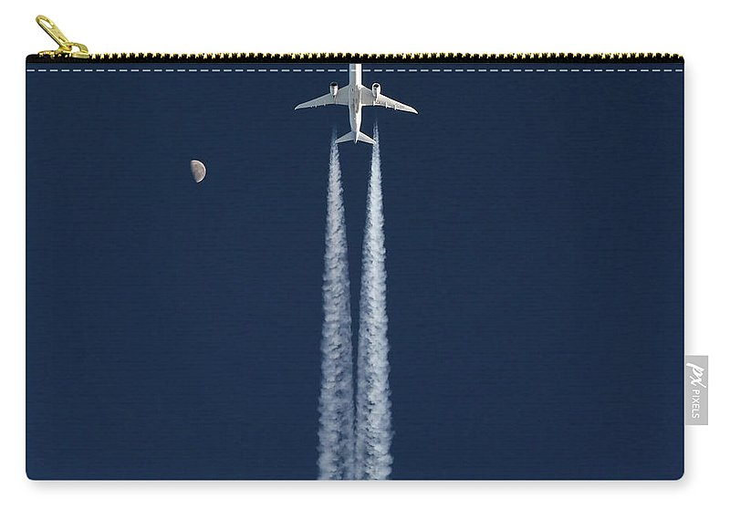 Boeing 787 Dreamliner Inflight Contrail Moon Sky Air To Air B787 Dream Liner Airplane Aviation Airliner Jet Carry-all Pouch featuring the photograph Boeing 787 Dreamliner Inflight by Andres Meneses