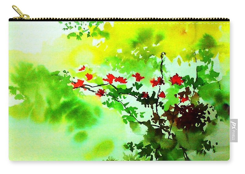 Floral Carry-all Pouch featuring the painting Boganwel by Anil Nene