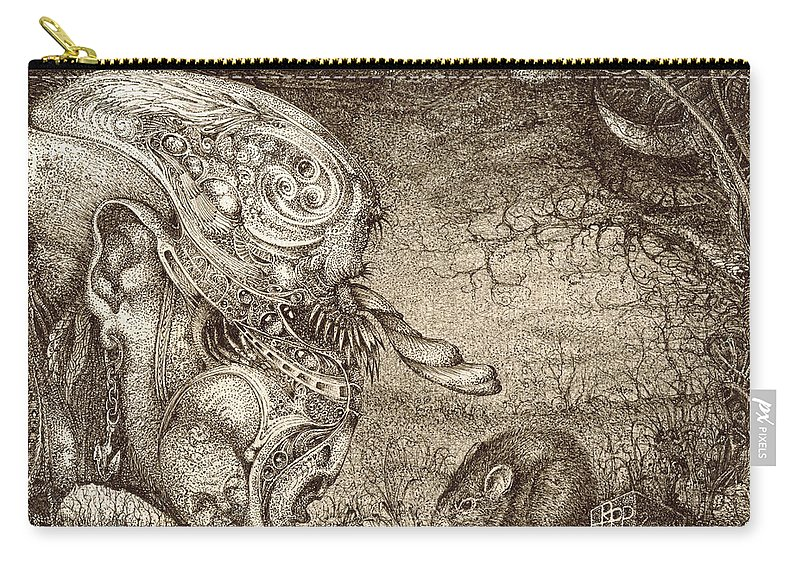 Surreal Carry-all Pouch featuring the drawing Bogomils Mousetrap by Otto Rapp