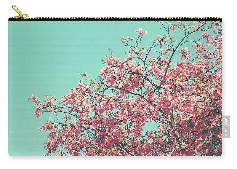 Pink Carry-all Pouch featuring the photograph Boho Cherry Blossom 2- Art By Linda Woods by Linda Woods