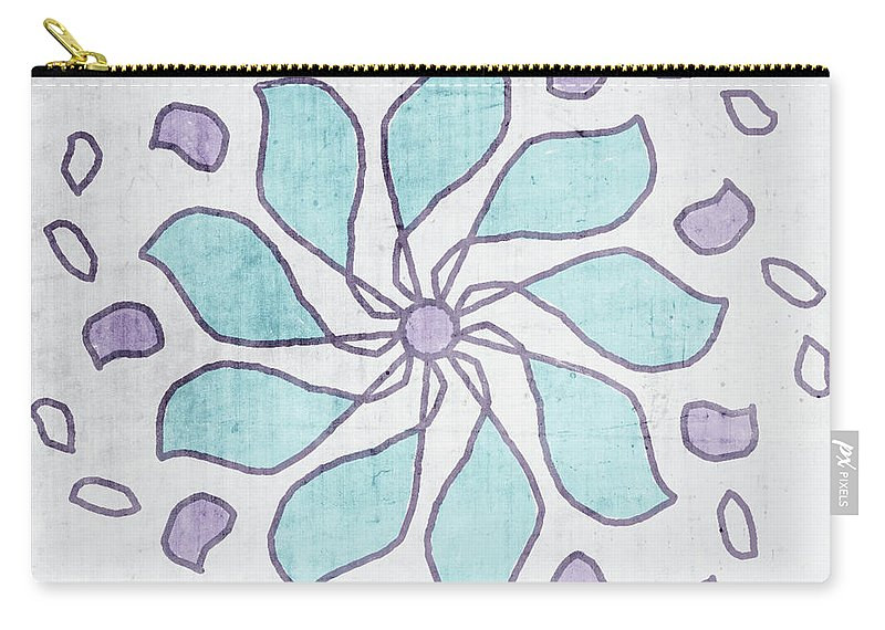 Mandala Carry-all Pouch featuring the mixed media Boho Floral Mandala 4- Art By Linda Woods by Linda Woods