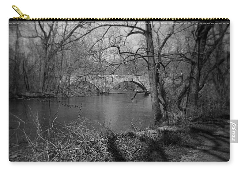 Photograph Carry-all Pouch featuring the photograph Boiling Springs Stone Bridge by Jean Macaluso