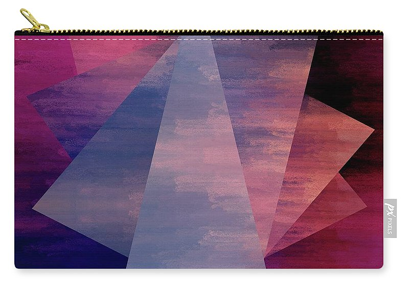 Brandi Fitzgerald Carry-all Pouch featuring the digital art Bold Fuchsia And Blue Triangles by Brandi Fitzgerald