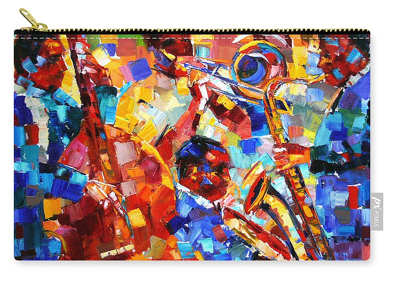 Jazz Carry-all Pouch featuring the painting Bold Jazz Quartet by Debra Hurd